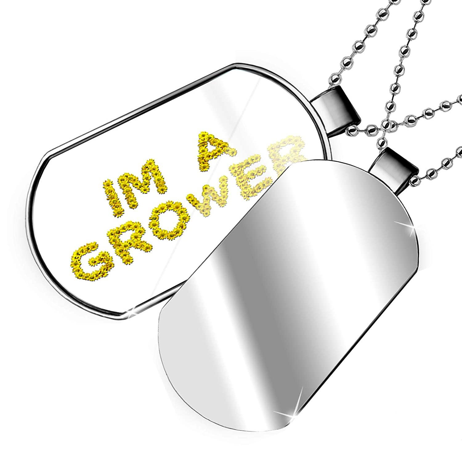 NEONBLOND Personalized Name Engraved Im A Grower Yellow Flowers Garden Dogtag Necklace