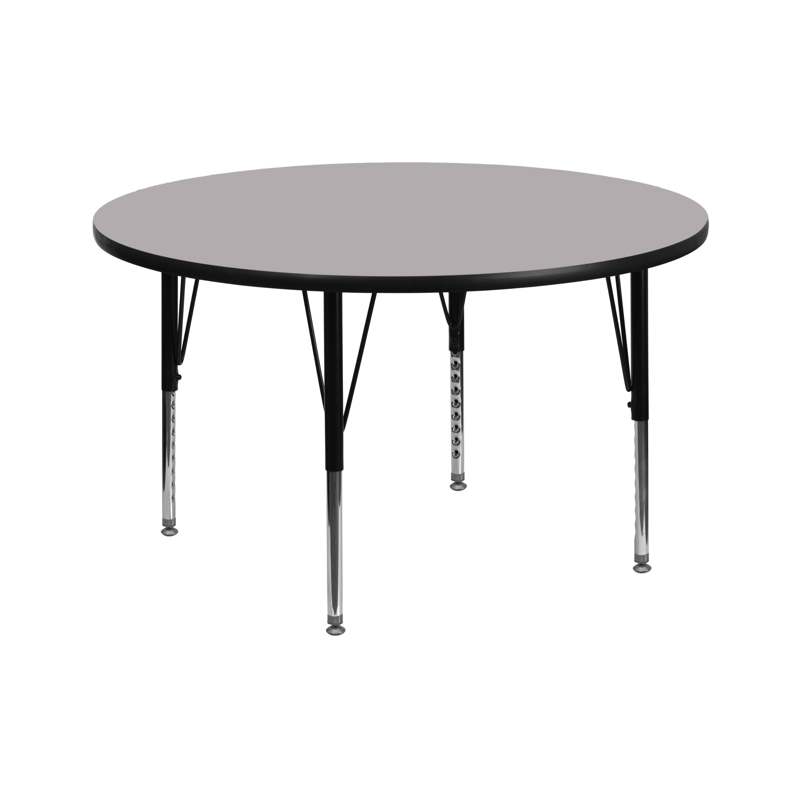 Flash Furniture 42'' Round Grey Thermal Laminate Activity Table - Height Adjustable Short Legs by Flash Furniture