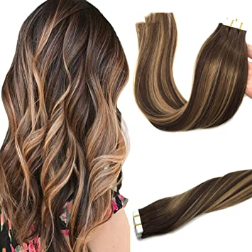Amazon Com Googoo 24inch Tape In Human Hair Extensions Ombre
