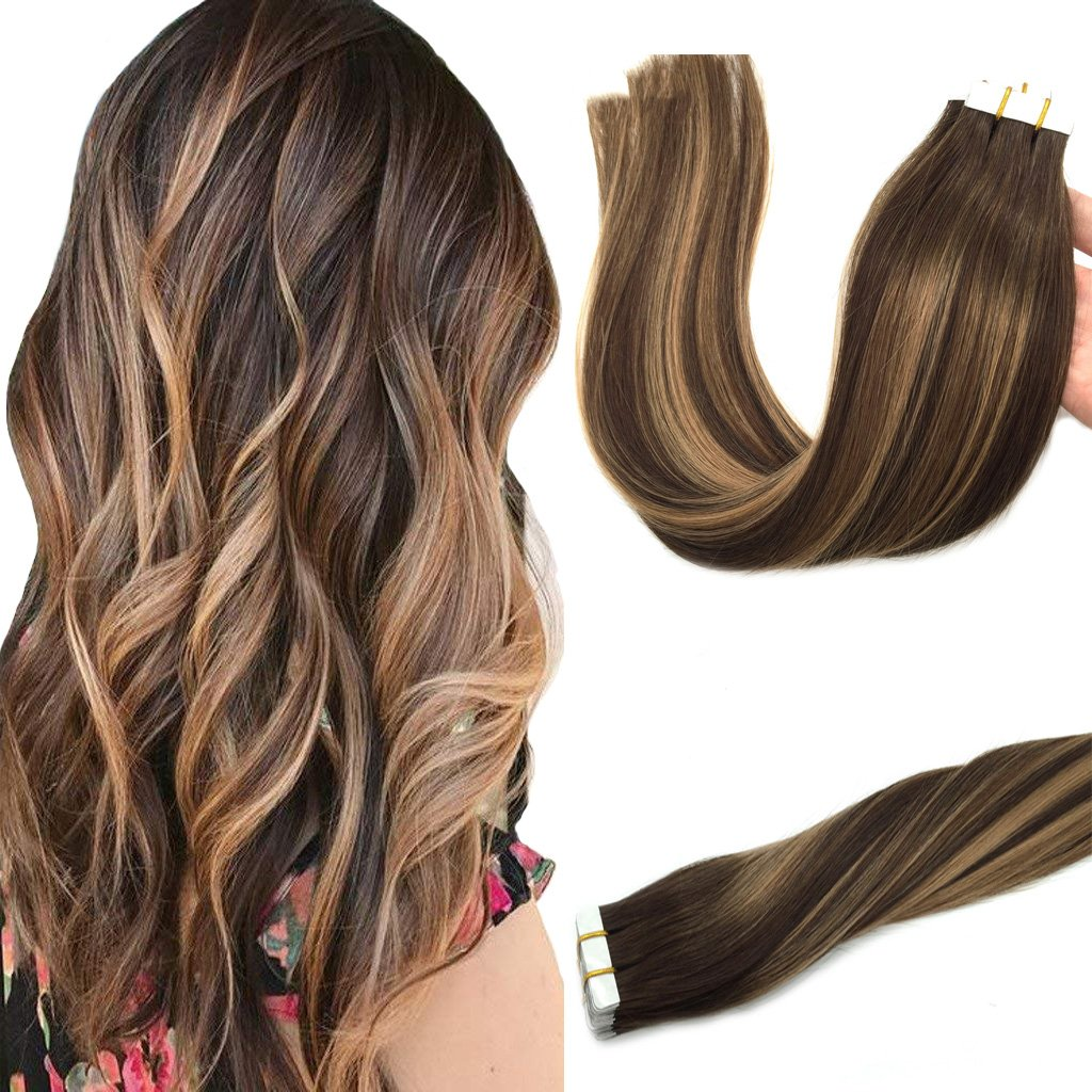 Amazon Googoo 20pcs 50g Tape In Ombre Hair Extensions Caramel