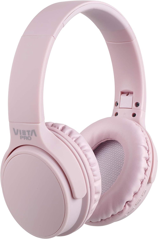 Vieta Pro Way – Auriculares inalámbricos (Bluetooth, radio FM, micrófono integrado, entrada Auxiliar, reproductor Micro SD, plegables, autonomía 40 horas) rosa