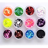 Qimisi 12 Color Glitter Hexagon Acrylic UV Gel False Tips Nail Art Salon Tool Set
