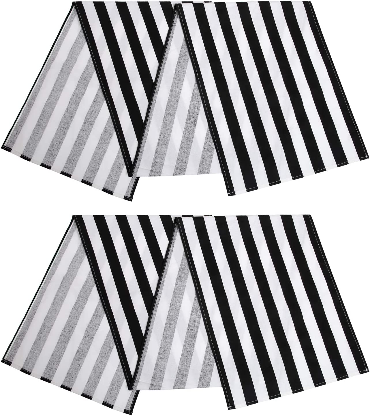 Aneco 2 Pack Striped Table Runner Cotton Striped Table Runner Modern Striped Design Table Runner Elegant Decor for Indoor Outdoor Events 13 x 72 Inches Black and White
