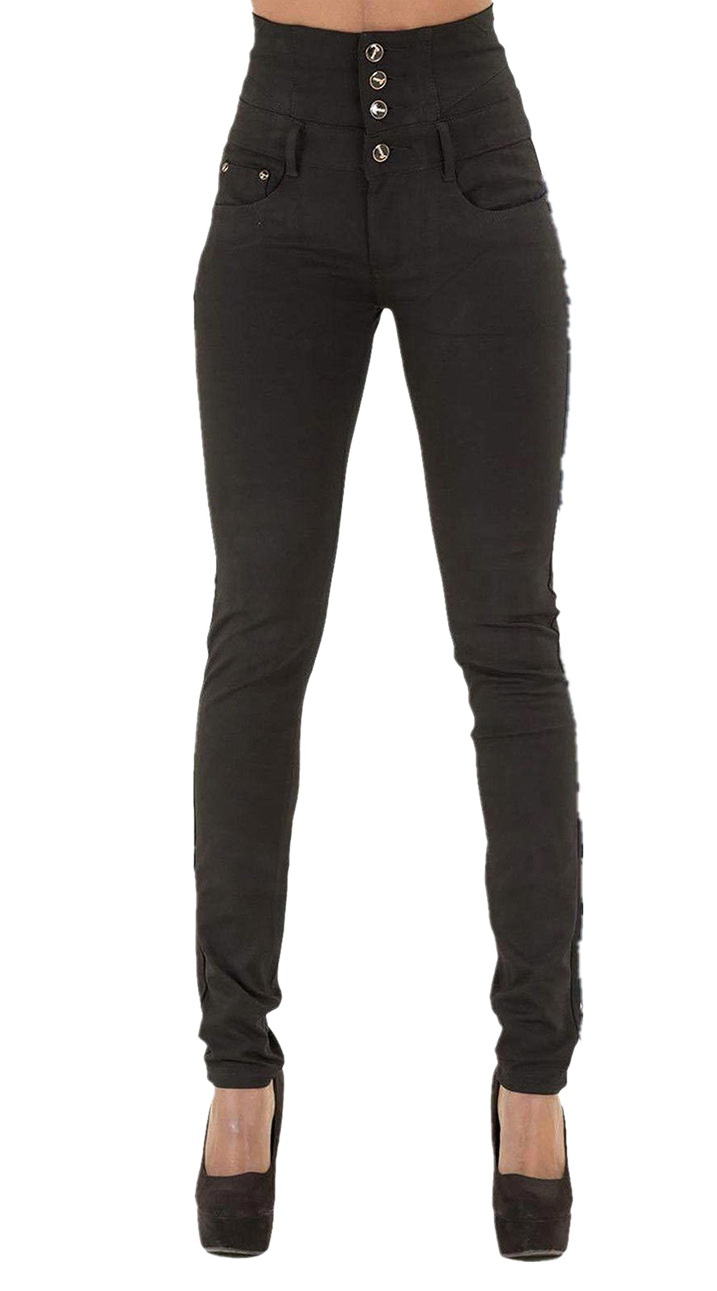 GALMINT Women's Juniors High Rise Irresistible Jegging Pull-On Stretch Skinny Jean Black