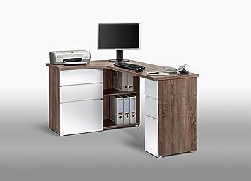 Bureau Blanc Laqué Avec Rangements : Matelpro bureau informatique dangle contemporain avec rangement