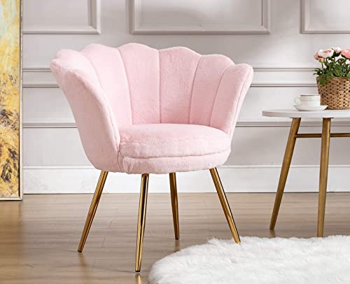 Duomay Accent Chair Modern Faux Fur Vanity Desk Chair Upholstered Living Room Chair