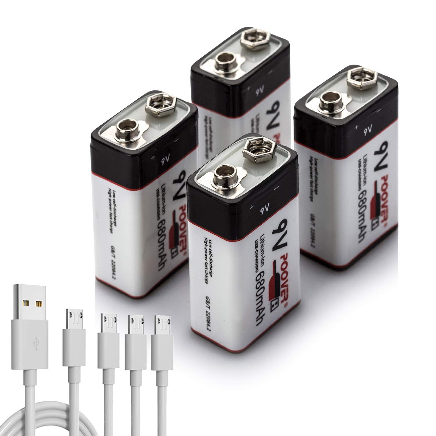 9v Battery,POOVER 680mAh Rechargeable 9volt Lithium Li-ion Battery with 9v Connector Smoke Alarm(4 Pack USB battery & 4-1 cable)