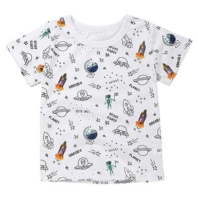 6d8610d75b4 Longra Enfants Filles Garçons Tee shirt Fusée Lettre imprimée T-shirt Été Col  rond Manche