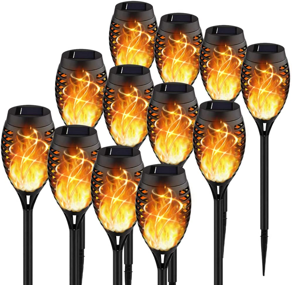 【Upgraded 12Pack Torches】Solar Lights Outdoor, 12LED Solar Torch Lights with Dancing Flickering Flames, Waterproof Landscape Decoration Flame Lights for Garden Pathway Yard-Auto On/Off Dusk to Dawn