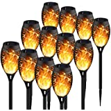 KYEKIO Upgraded 12Pack Torches, Solar Lights Outdoor, 12LED Solar Torch Lights with Dancing Flickering Flames, Waterproof Lan