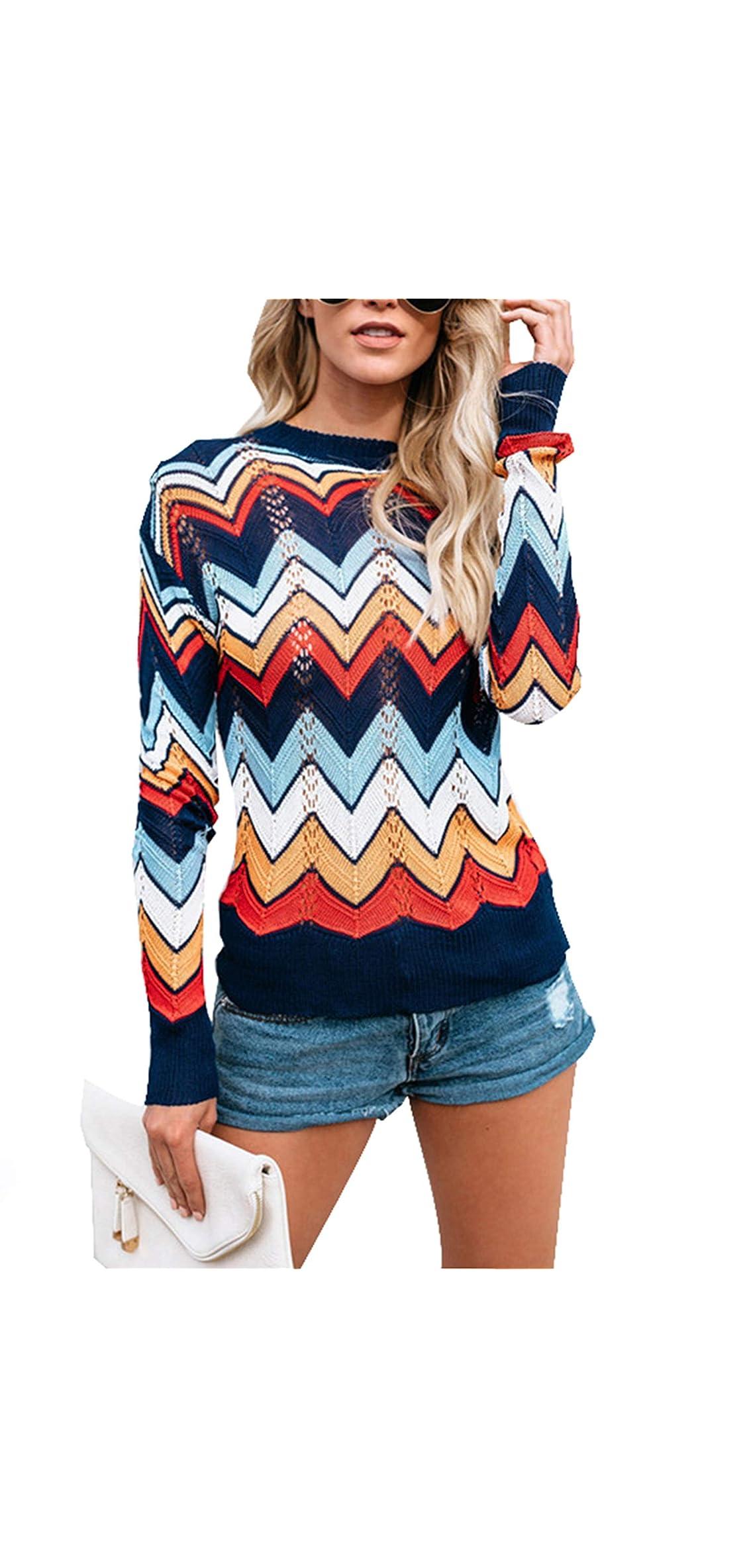 Women's Pullover Jumper Crewneck Rainbow Color Striped