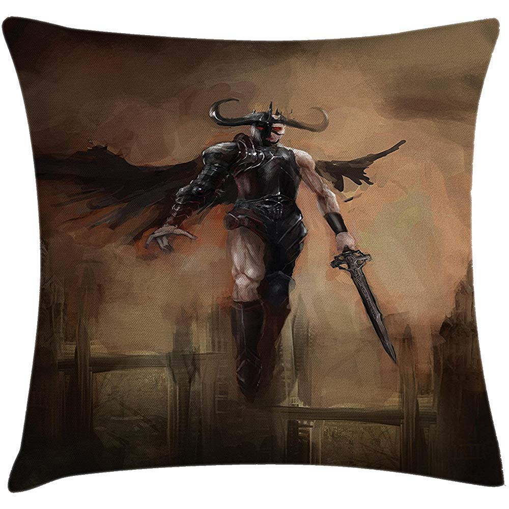 ONGH Fantasy World Throw Pillow Cojín Yin Yang Angel Devil ...