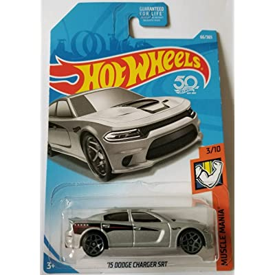 Hot Wheels 2020 50th Anniversary Muscle Mania '15 Dodge Charger SRT 66/365, Silver: Toys & Games