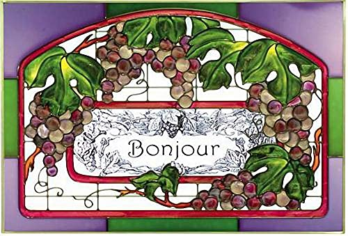 Purple Grapes Grapevine Welcome Bonjour 20.5 Wide x 14 High Hand Painted Art Glass Panel