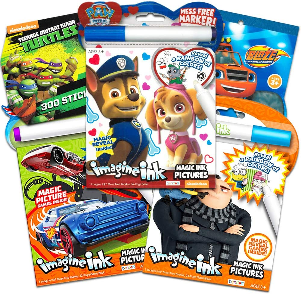Imagine Ink Bundle Includes 3 No Mess Coloring Books ~ Paw Patrol, Race Cars, Minions with Stickers