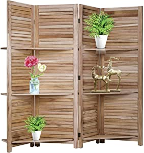 Room Divider and Folding Privacy Screens with 3 Shelves,4 Panel Folding Wood Privacy Wall Divider,Portable Partition with Stand freestanding,Curtain Wooden Separator for Home Office Restaurant,Natural