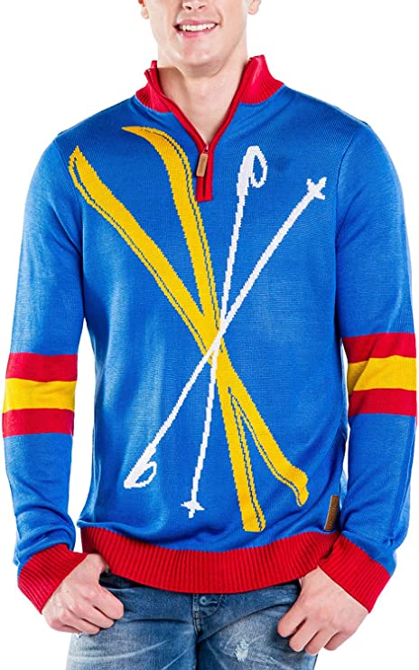 Men's Vintage Sweaters, Retro Jumpers 1920s to 1980s Tipsy Elves Mens Retro Winter-Themed Ski Snow Zip-Up Sweaters for Guys $35.00 AT vintagedancer.com