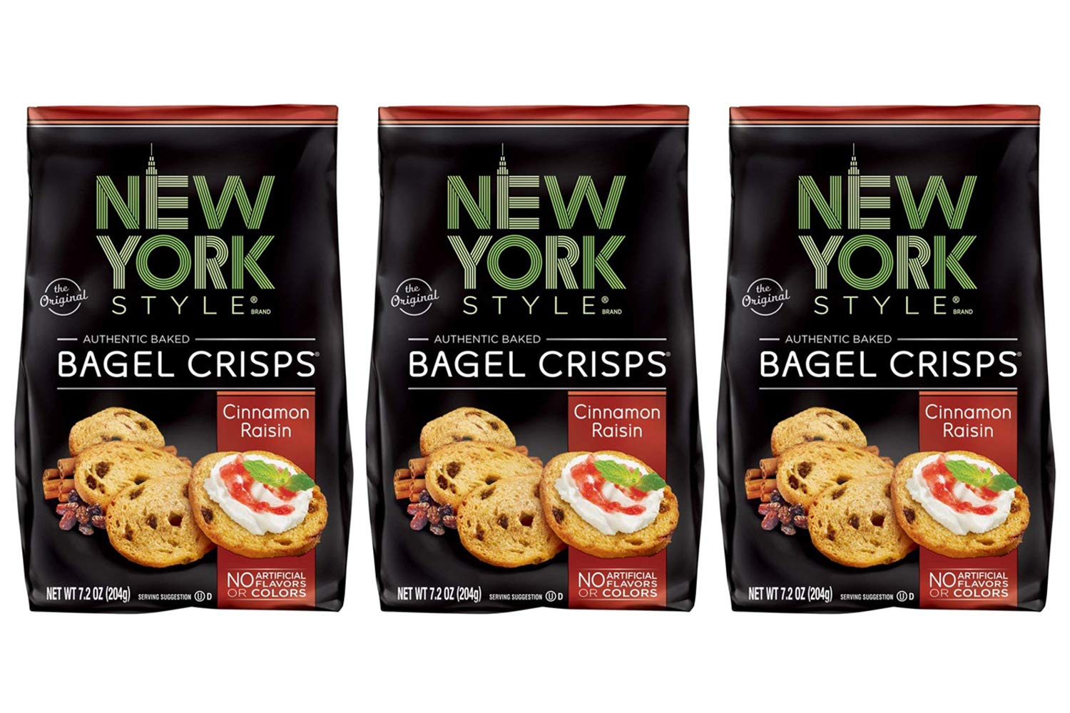 New York Style Bagel Crisps CINNAMON RAISIN, 7.2 Ounce -(Pack of 3) Party Time Snacks by New York Style