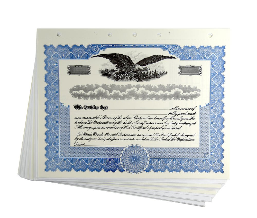 Blank Blue Stock Certificates with Stubs for Corporations by Blumbergs Law Products
