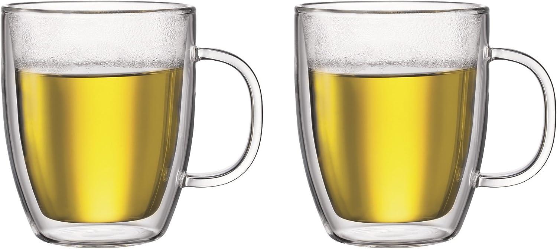 Bodum Bistro Double-Wall Insulated 15-Ounce Glass Mug, Set of 2