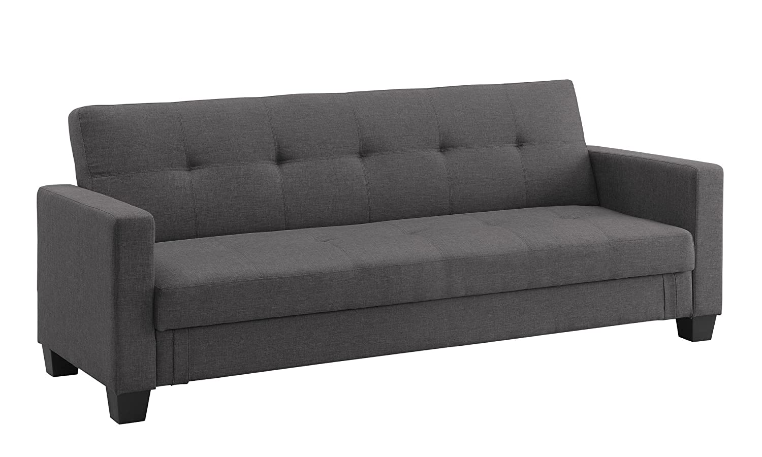 DHP Leighton Futon Couch with Hidden Storage, Full Size - Grey Linen