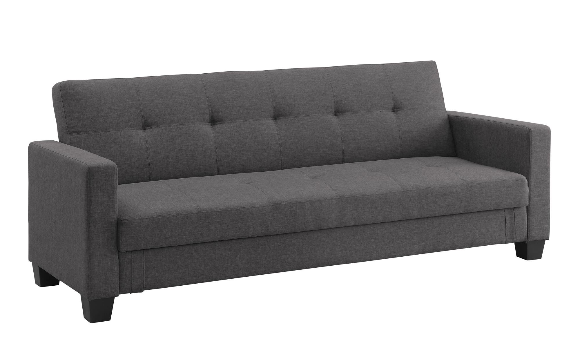 DHP Leighton Futon Couch with Hidden Storage, Full Size - Grey Linen by DHP