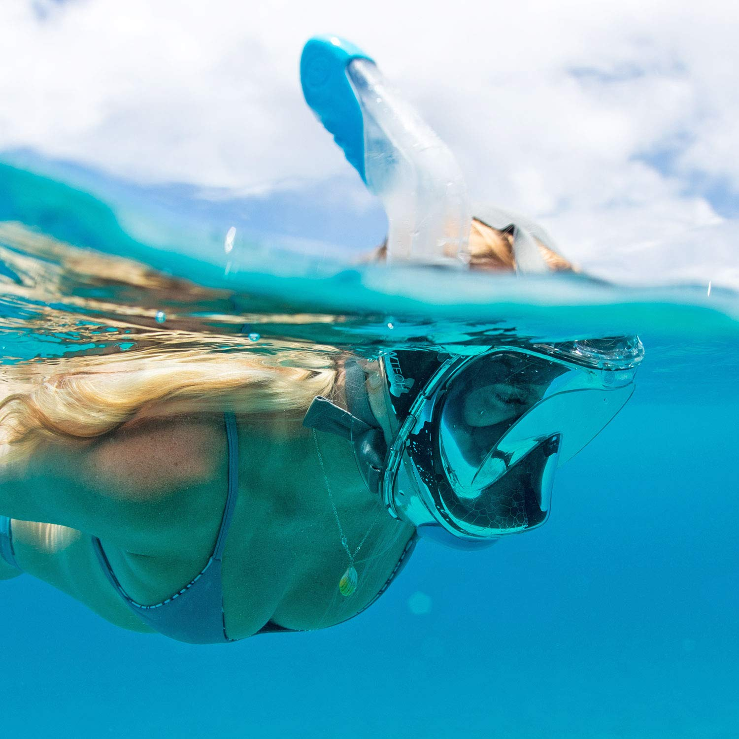 WildHorn Outfitters Seaview 180° V2 Full Face Snorkel Mask with FLOWTECH Advanced Breathing System - Allows for A Natural & Safe Snorkeling Experience- Panoramic Side Snorkel Set Design by WildHorn Outfitters (Image #2)