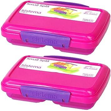 Sistema® pequeño Split plástico merienda fruta desayuno almuerzo caja alimentos almacenamiento con clip de cierre tapa 350 ml (rosa, 4): Amazon.es: Hogar