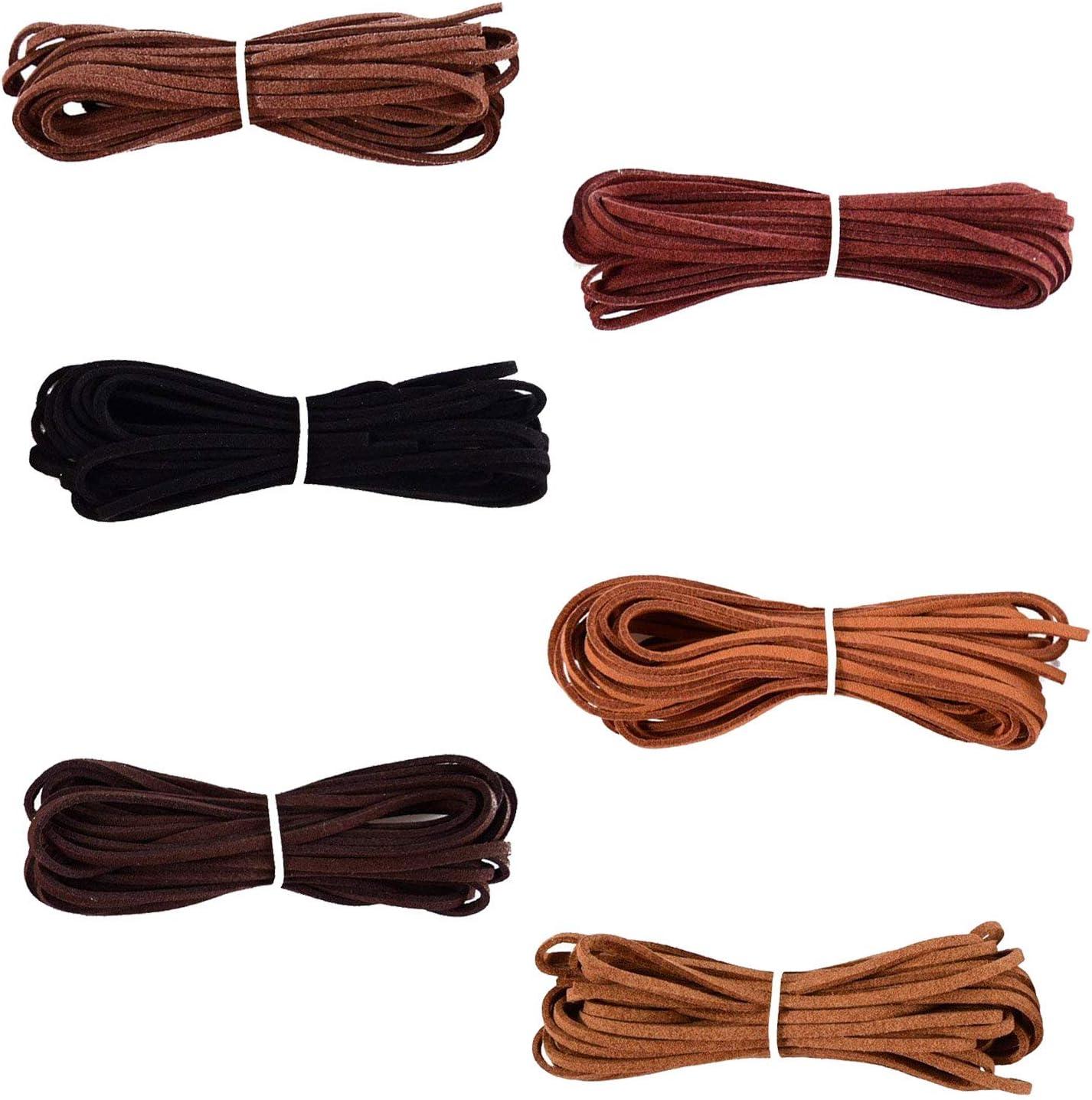 FOGAWA 6 Pcs Cordón de Ante Falso de 2.5mm 6 Colores Cuerda de Cuero Sintético Puede Coincidir Colgante Tiras de Cuero para Pulseras Collar Bisutería Rebordear DIY Artesanía Hecho a Mano