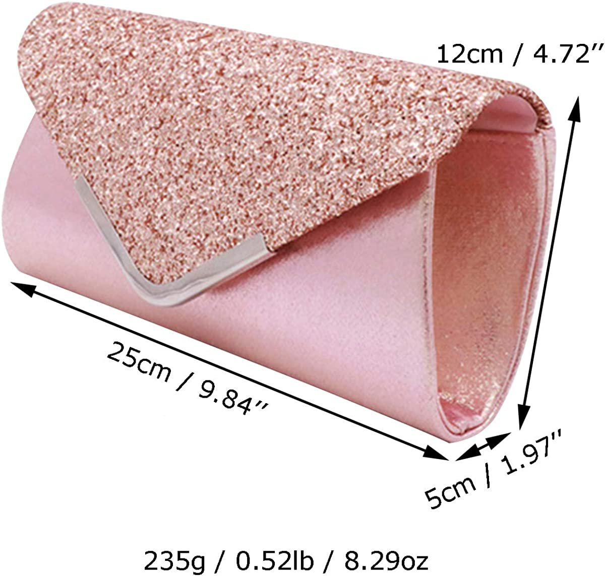 Miss Chow Sequined Flap Envelope Clutch Purse Solid Lustrous Party Handbag Shiny Glittered Evening Bag