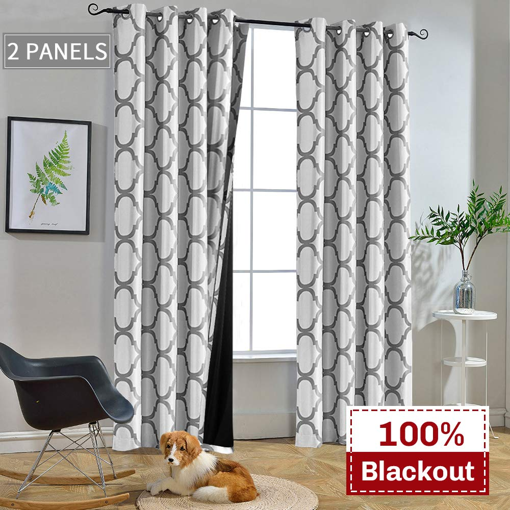52 x 84 Inch Living Room Thermal Insulated Black Liner Grommet Drapes White//Dusty Blue Melodieux Moroccan 100/% Blackout Curtains for Bedroom 84 Inch Length 2 Panels