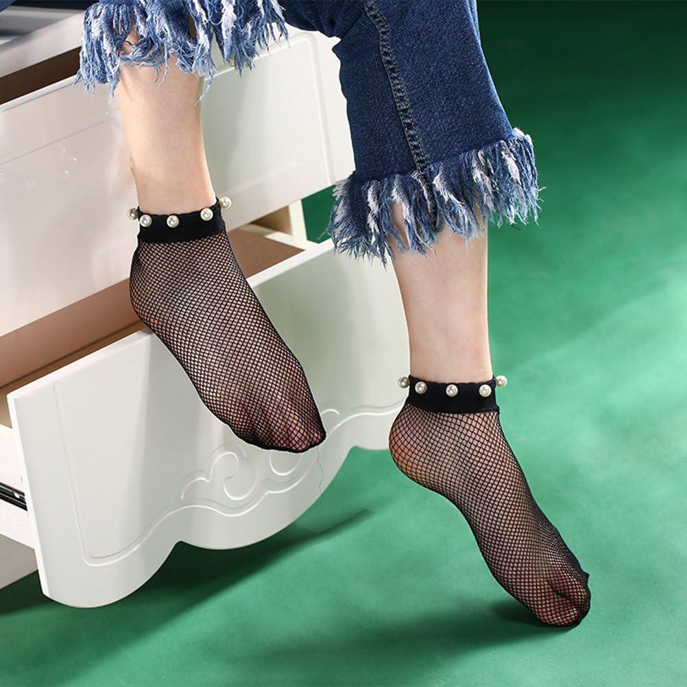 nero TinkSky 1 paio di moda donna calze a rete Ankle Socks Calzini puro maglia con perla