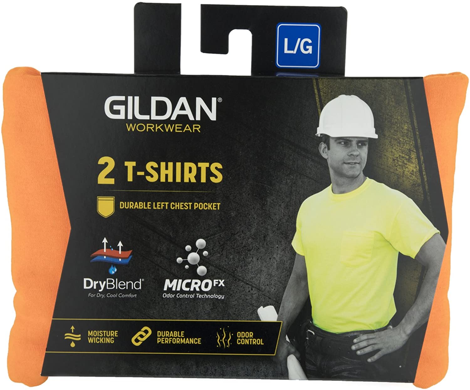 2-Pack T-Shirt GILDAN Mens DryBlend Workwear T-Shirts with Pocket