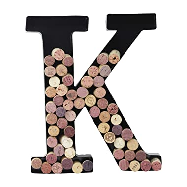 Metal Letter Wine Cork Holder Monogram w/Free Wall Mount Kit A-Z, (K)