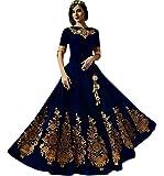Shree Impex Women's Dark Blue Taffeta Silk Embroidered Gown