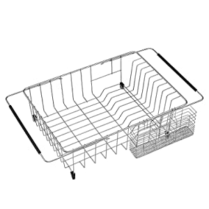 SANNO Expandable Dish Rack, Large Dish Drying Rack with Utensil Cutlery Holder, Dish Drainer Shelf Dish Rack in Sink or On Counter with Utensil Silverware Cutlery Holder, Rustproof Stainless Steel