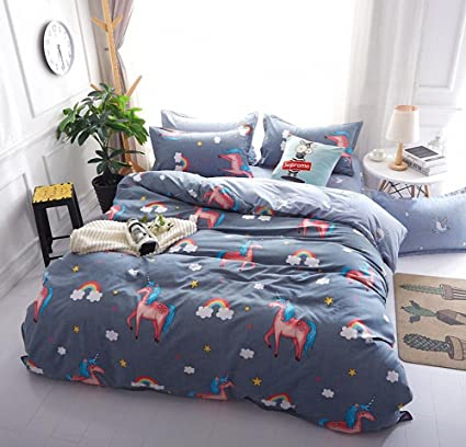 LAGHCAT 4 Piece Kids Bedding For Teens Boys Girls Unicorn Printed Bed Sheet  Set, Queen