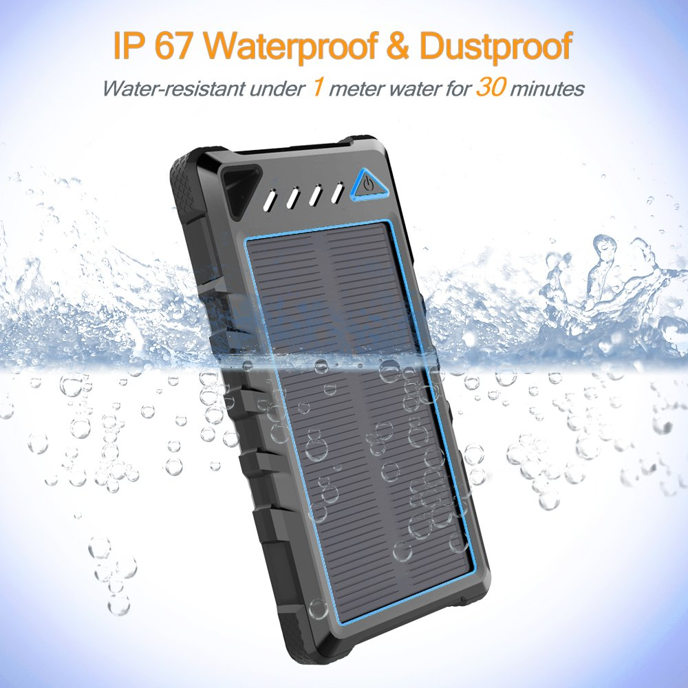 Solar Power Bank with Flashlight for Camping BEARTWO 10000mAh Ultra-Compact External Batteries with Dual USB Ports Portable Solar Charger Outdoor Activities