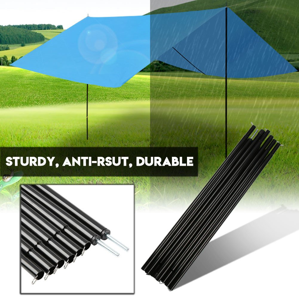Canopy Zinc Plated Iron Awning Frames Kit Tent Pole Bars Lightweight Folding Portable Adjustable for Camping Hiking Backpacking Zerone Outdoor Camping Tent Pole Rods