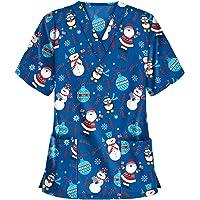 RJDJ home Nursing Scrubs for Women Tops Christmas Thanksgiving Printed Medical Uniform V-Neck Scrub Top Shirt Scrubs…