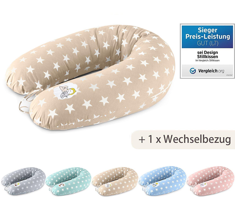 Cuscino gravidanza + 1x anche una federa, cuscino gravidanza di Sei Design XXL 190 x 30cm,i riempimento di perline in fibra 3-D - molto morbido e confortevole - sostenere la forza facilmente, regolabile mediante zip banana-pillow