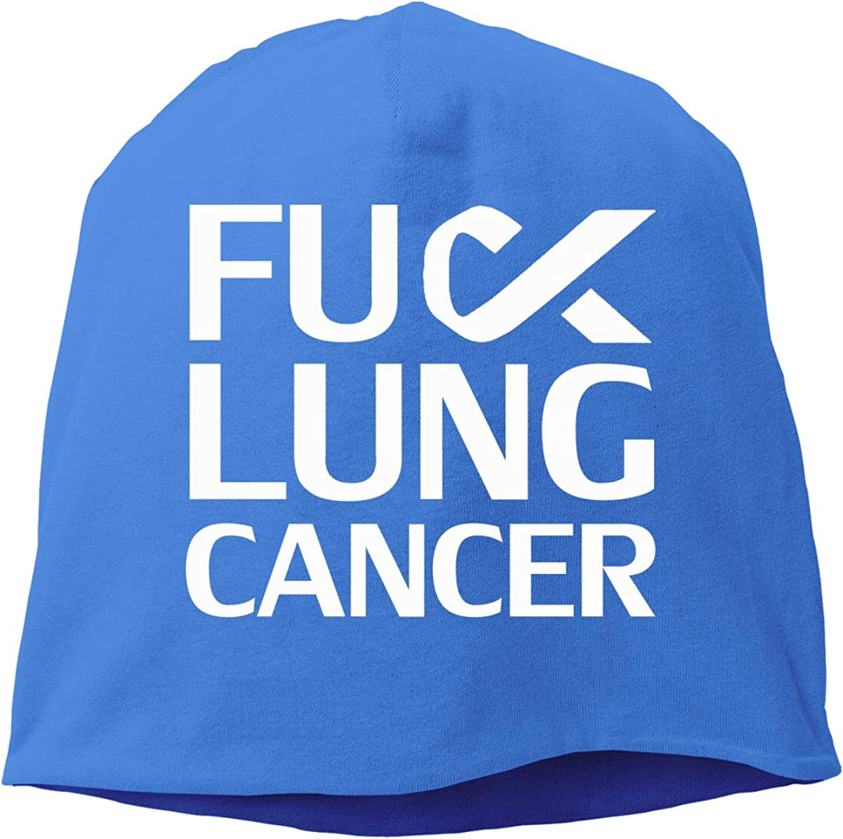 Unisex Fuck Lung Cancer White Ribbon Running Beanie Cap Cuffed Plain Skull Cap Hat