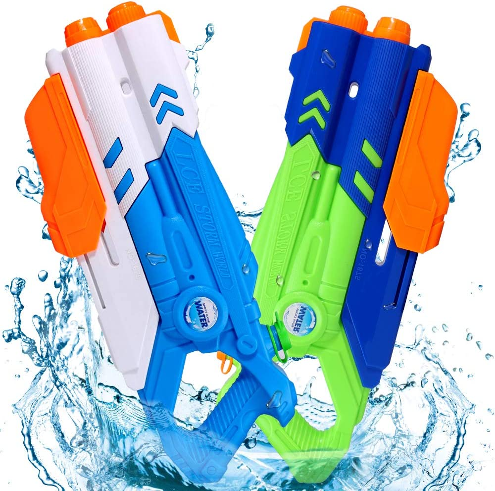 Super Water Gun for Kids, 1200CC High Capacity Water Soaker Blaster Squirt Gun 35 Feet Long Range Fast Trigger Summer Toys for Adults Boys Girls Swimming Pools Party Outdoor Beach Sand (2 pack)