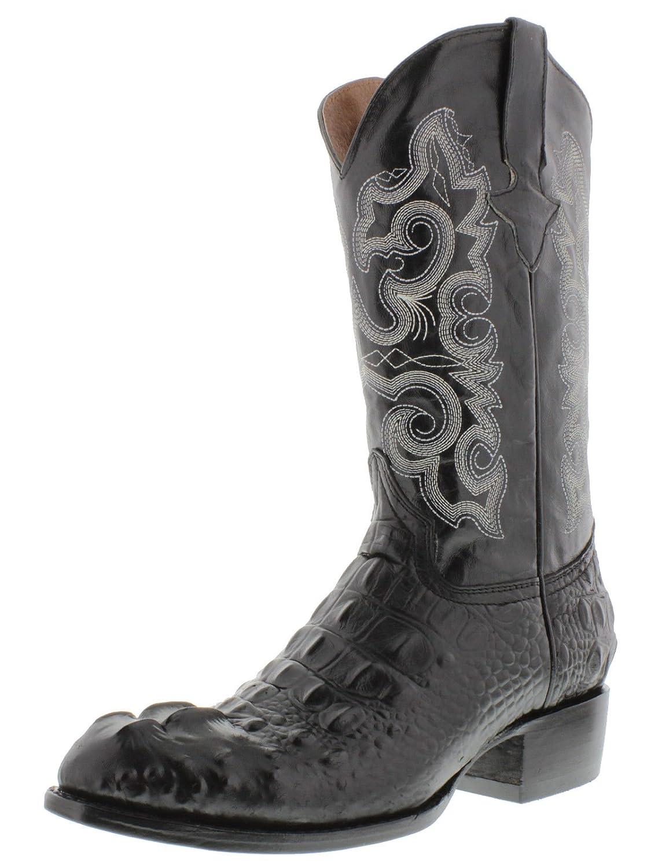 Men's Crocodile Alligator Head Lather Cowboy Western Rounded Boots Black