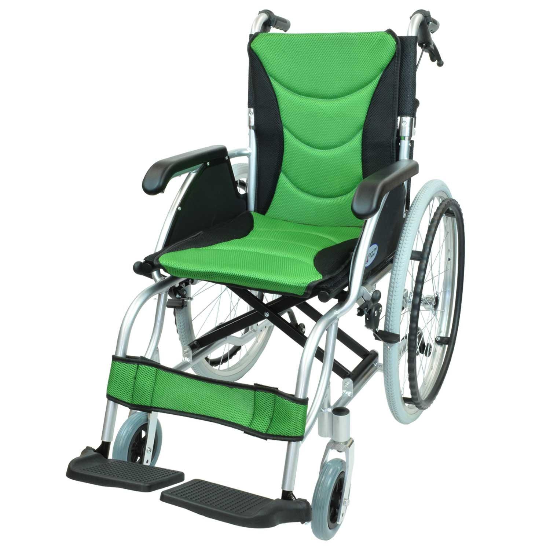 ケアテックジャパン 自走式 アルミ製 車椅子 CA-32SU ハピネスプレミアム (グリーン) B01N6QGZAS グリーン グリーン