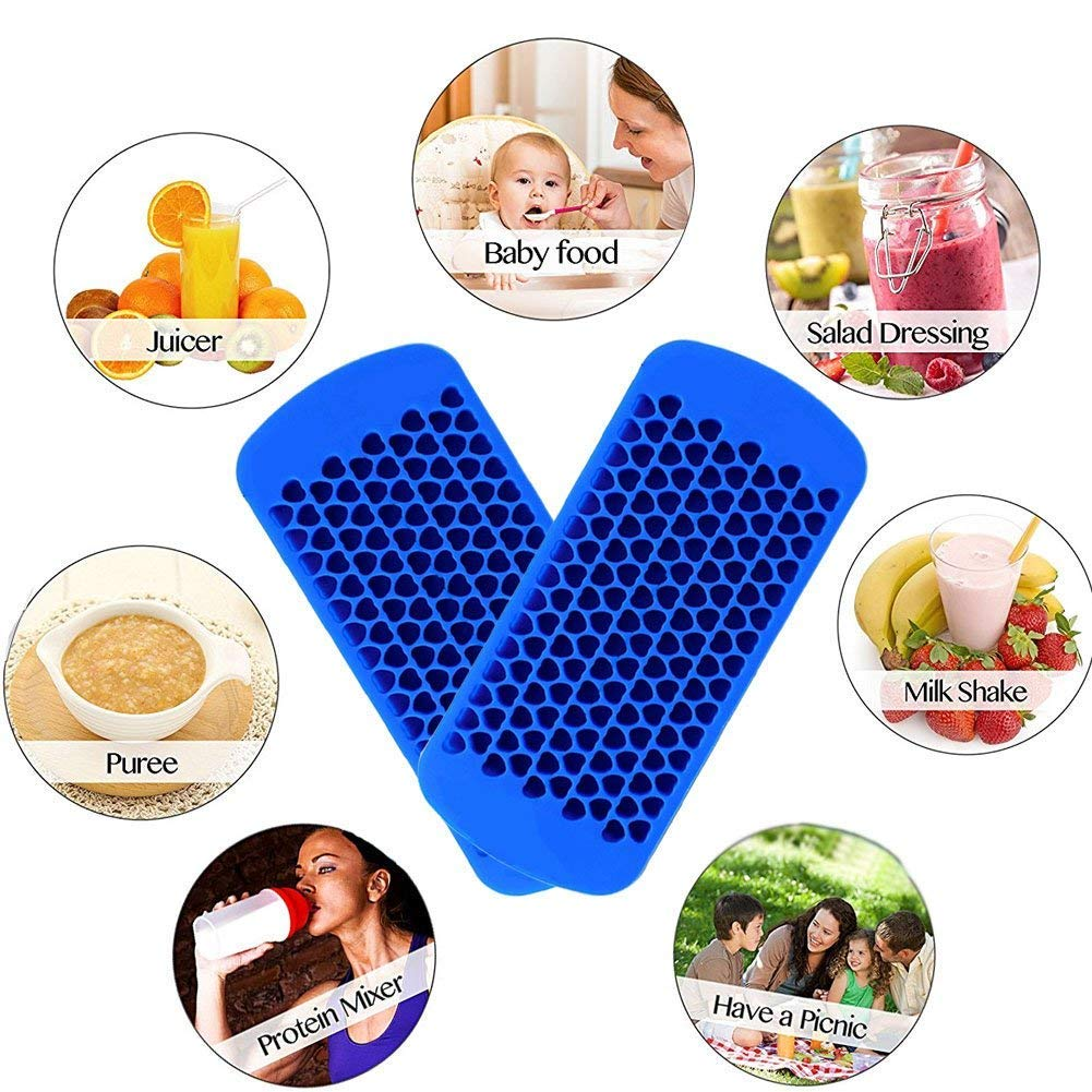 KABB 2 Pack Small 150 Grids Mini Silicone Ice Cube Trays Heart Shaped Candy Chocolate Molds for Whiskey Juice Salad Drinks Blue