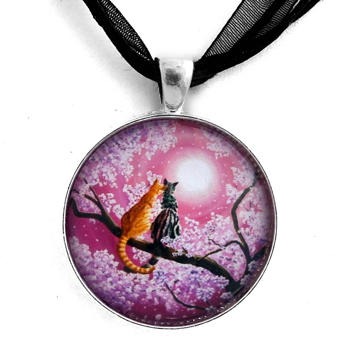 Laura Milnor Iverson Orange and Gray Tabby Cats in Cherry Blossoms Romantic Pink Zen Moon Handmade Jewelry Pendant Black Ribbon Necklace