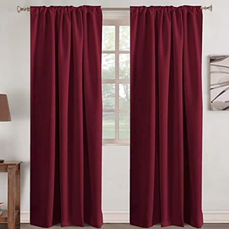 Amazon Com Burgundy Blackout Curtains For Girls Room Curtain Back Tab Rod Pocket Curtain Panels For Living Room Energy Efficient Window Treatment Drapes Burgundy 2 Panels 52 W X 84 L
