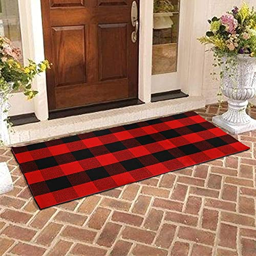 Buffalo Plaid Rug – YHOUSE Checkered Indoor Outdoor Door Mat Outdoor Doormat for Front Porch Kitchen Laundry Room Welcome Layered Mat 23.6 X51.2 , Red and Black Plaid