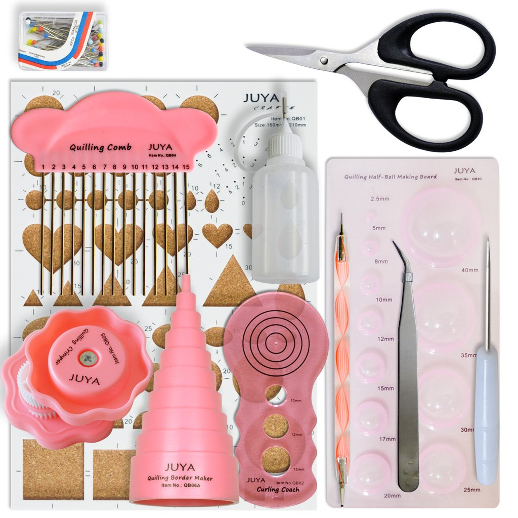 JUYA Quilling Tools Set 12 pcs Total (Pink Tools with Glue) 4336890017